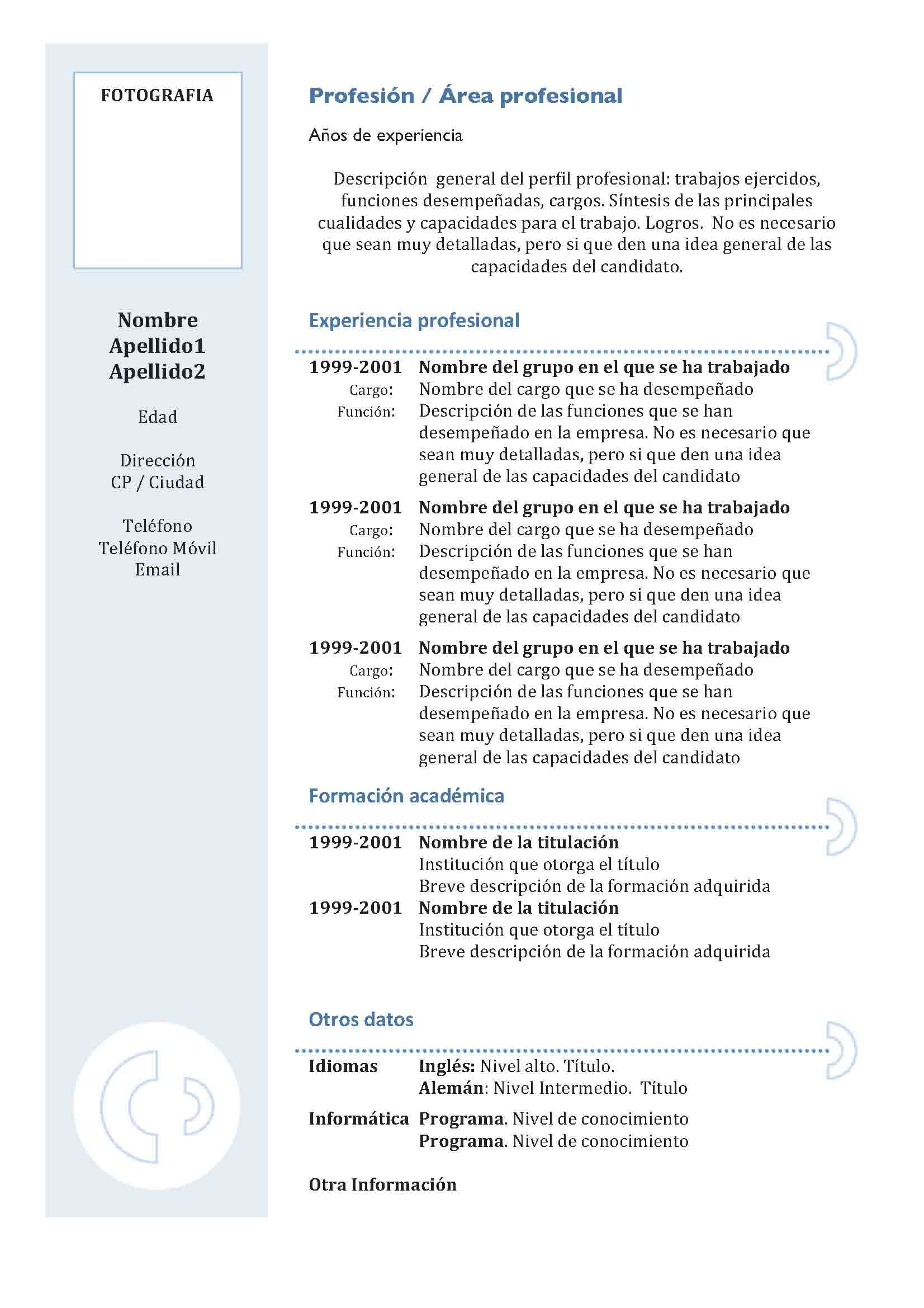 Único Un Curriculum Vitae De Estudiante Imágenes - Ejemplo De ...