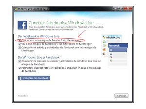 usar facebook en windows live msn