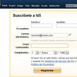 Crear una cuenta Hi5