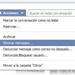 Eliminar el historial de mensajes de Facebook