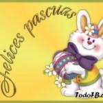 imagen felices pascuas con conejo