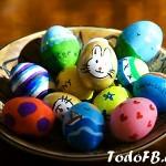 canasta de huevos de pascua