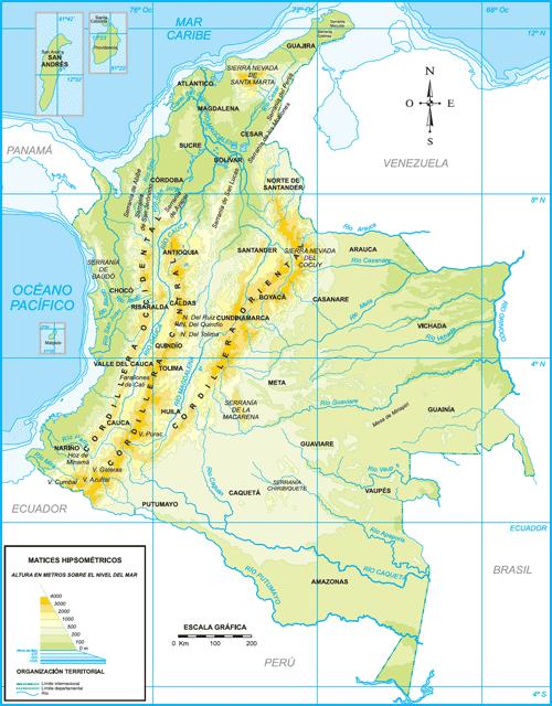 Descargar Mapas fsicos y polticos de Colombia para imprimir