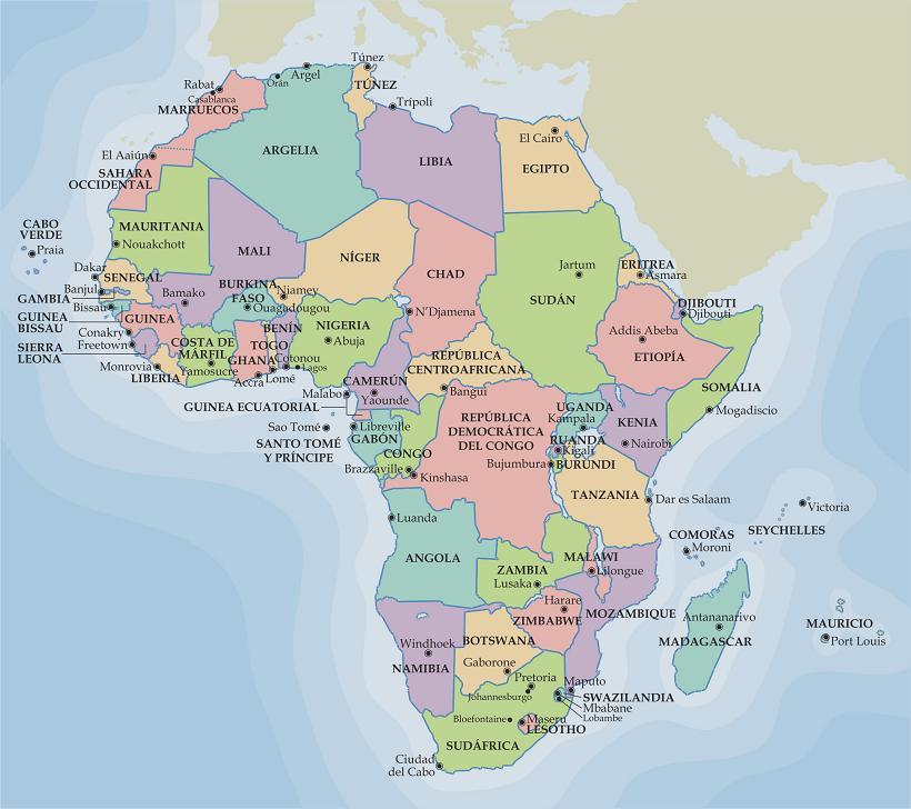 Mapa político de África para imprimir | Universo Guia