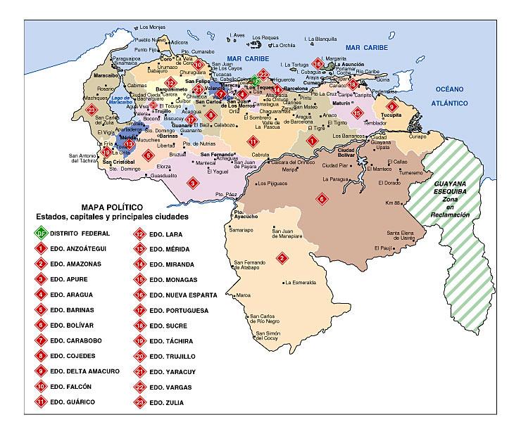 Mapas físicos y políticos de Venezuela para Descargar e imprimir ...