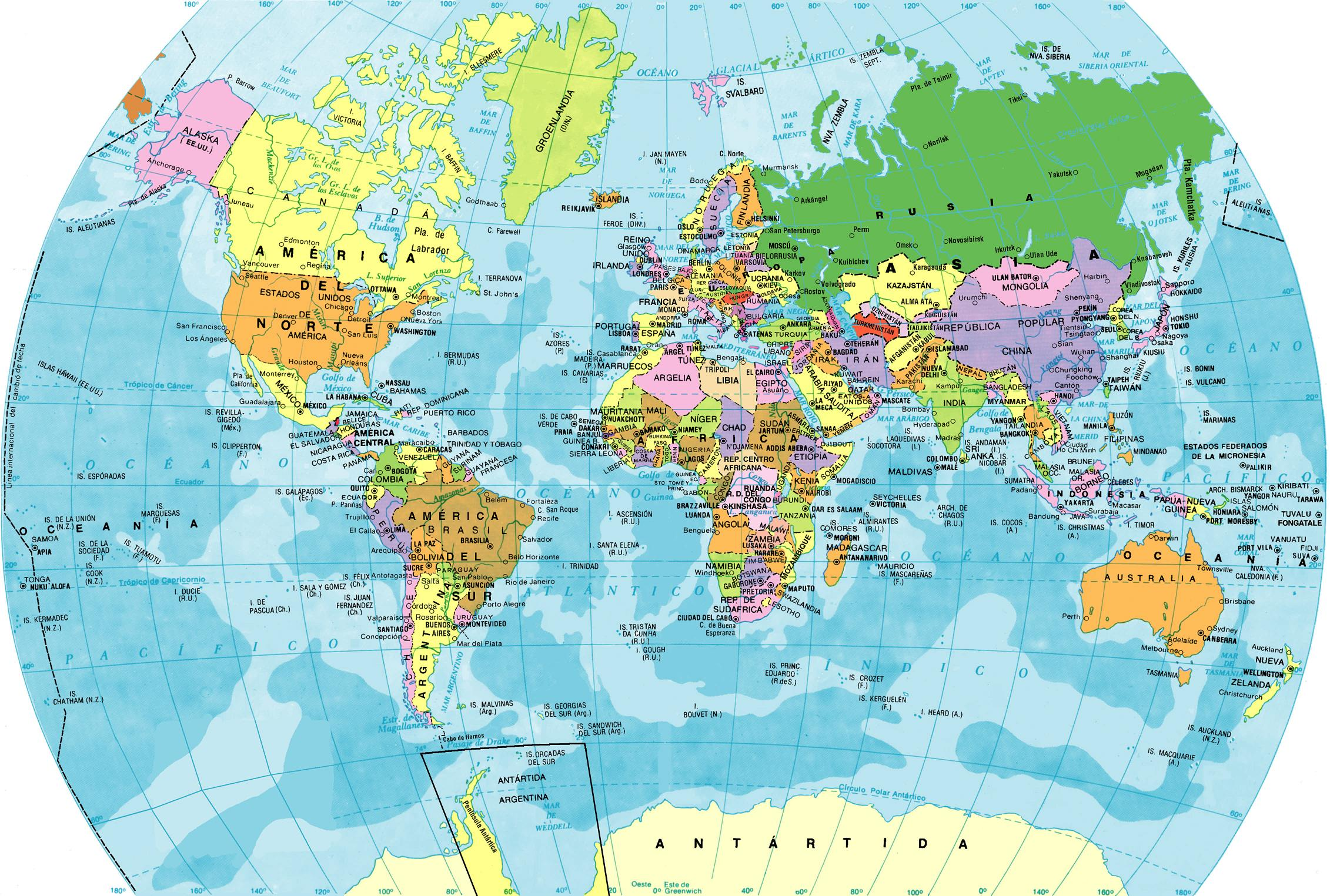 Mapas Planisferios para descargar e imprimir  Universo Guia