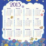 Calendar for 2013. Cloud in the night sky. Children applique flowers