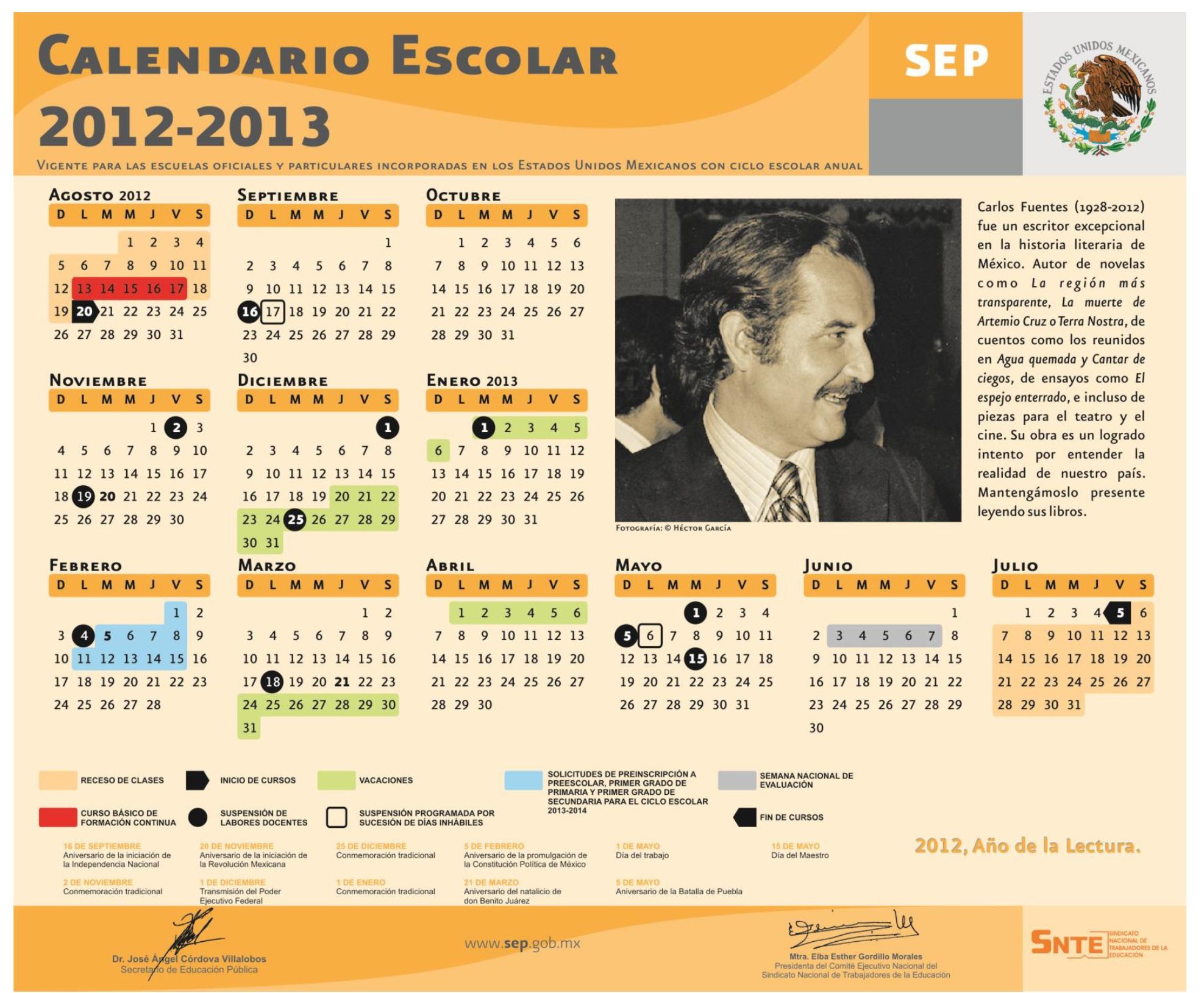 Calendario Escolar 2013 México | Universo Guia