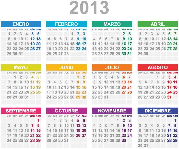 Calendario Grid 2013 Color Universo Guia