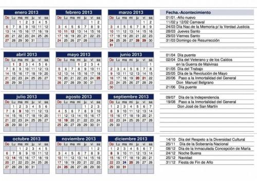 Calendario 2013 para imprimir de argentina universo guia for Calendario 2015 ministerio del interior
