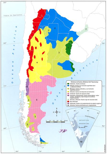 Argentina mapa hidrografia - Tipos de suelos ...