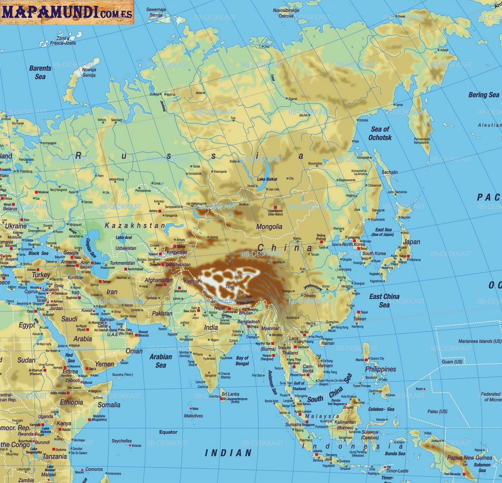 mapa de asia fisico  Universo Guia