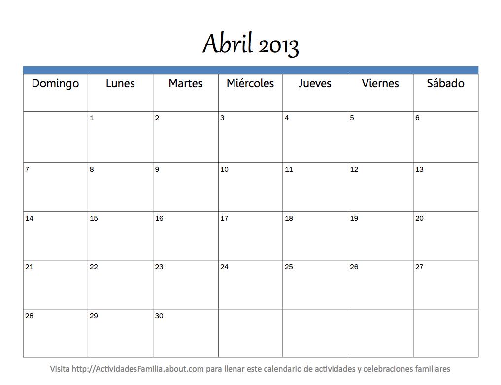 Calendario Mes Abril 2013