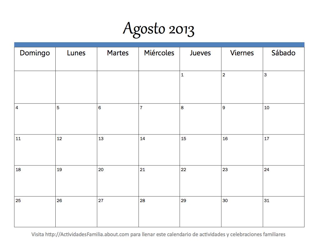 Calendario mes Agosto 2013