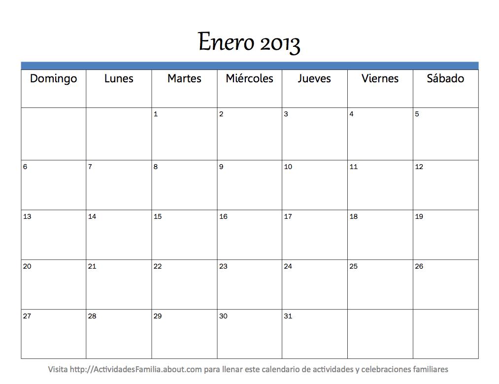Calendario mes Enero 2013