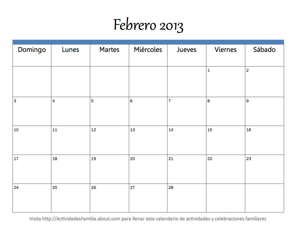 Calendario Mes Febrero 2013