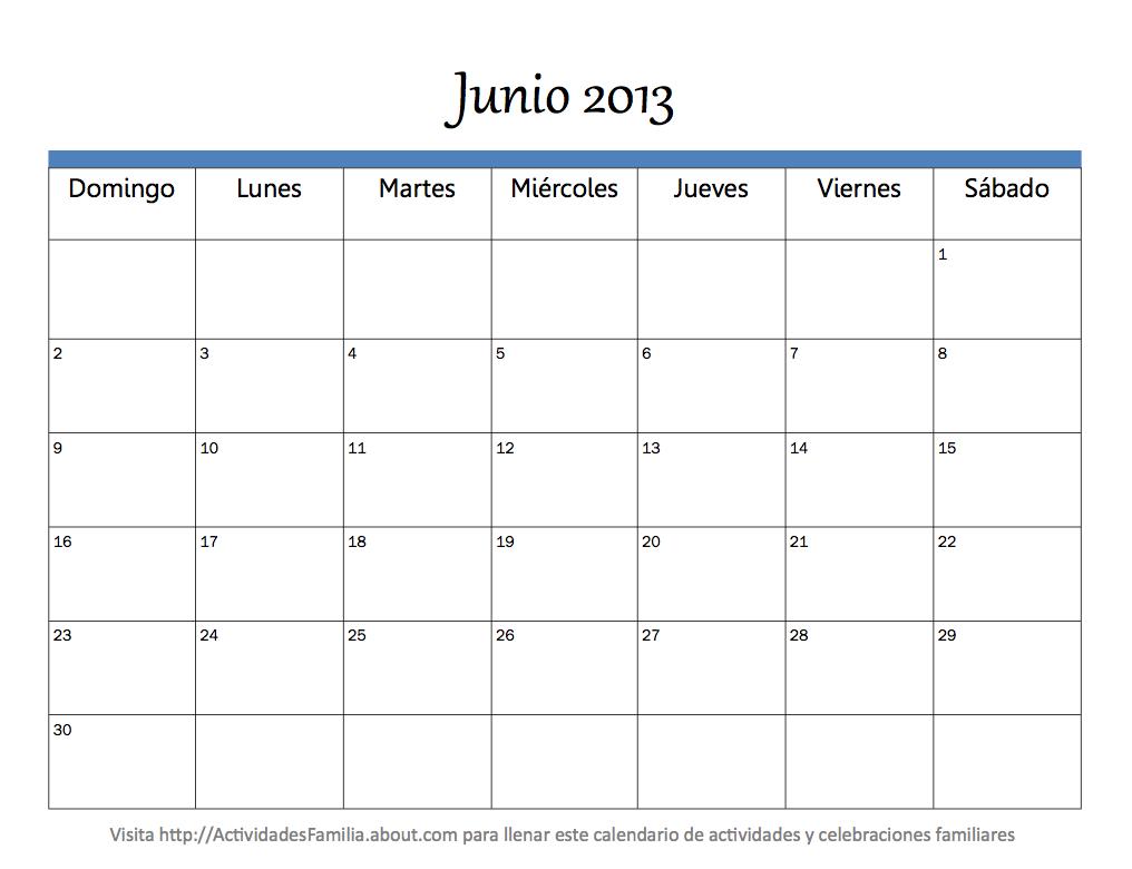 Calendario Mes Junio 2013