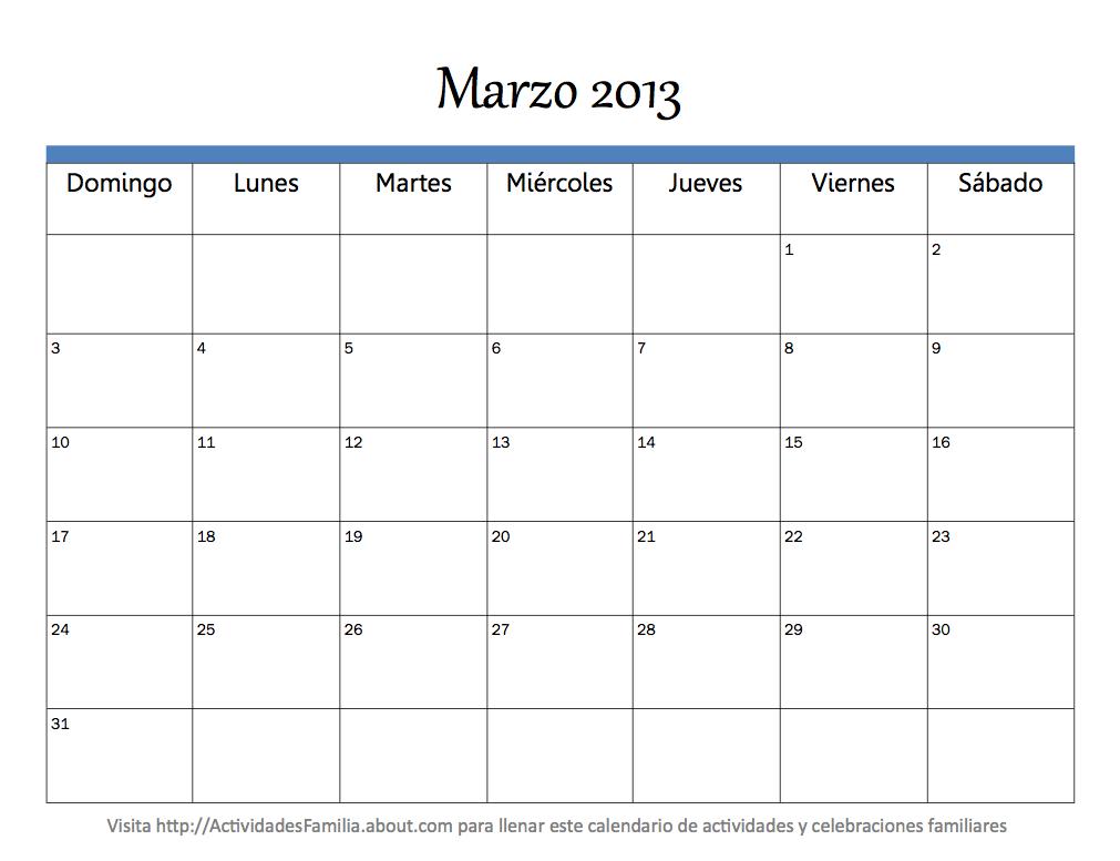 Calendario Mes Marzo 2013