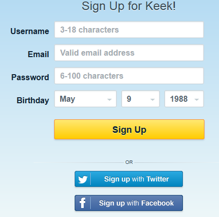 Keek - Sign Up