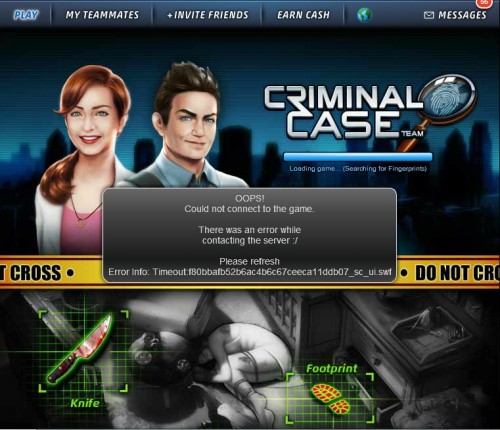 Error Timeout en Criminal Case