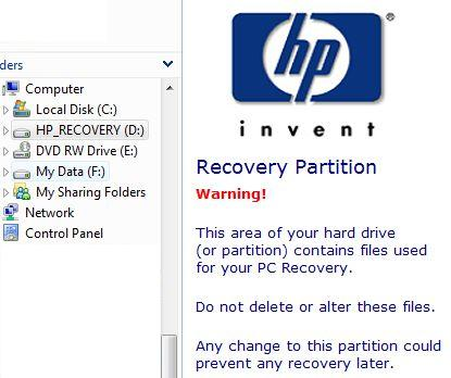 hp recovery partition acceder