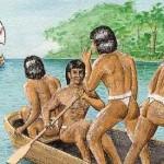 Indios y carabela cristobal colon