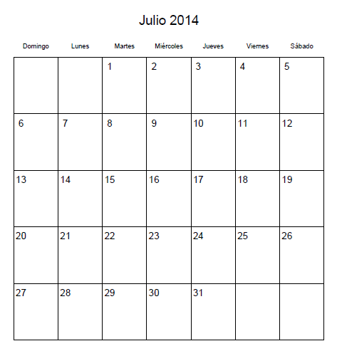 Calendario Julio 2014