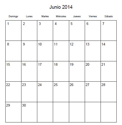 Calendario Junio 2014