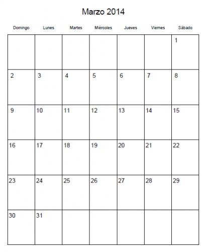 Calendario Marzo 2014