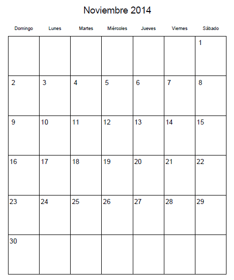 Calendario 2014 Imprimir Calendario Noviembre 2014