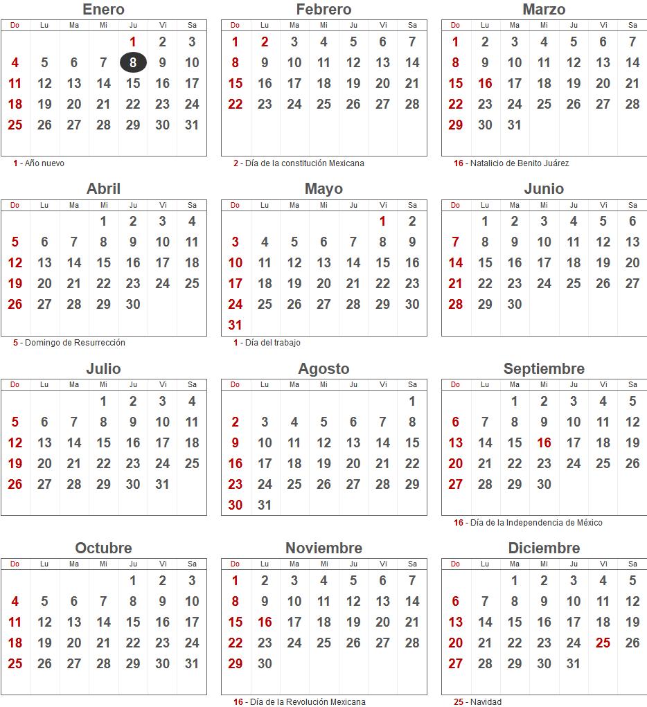 Calendario 2015 de México con los principales días festivos.
