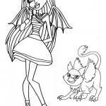 Dibujos-para-colorear-de-Monster-High-Rochelle-Goyle-y-su-gárgola-655x1024