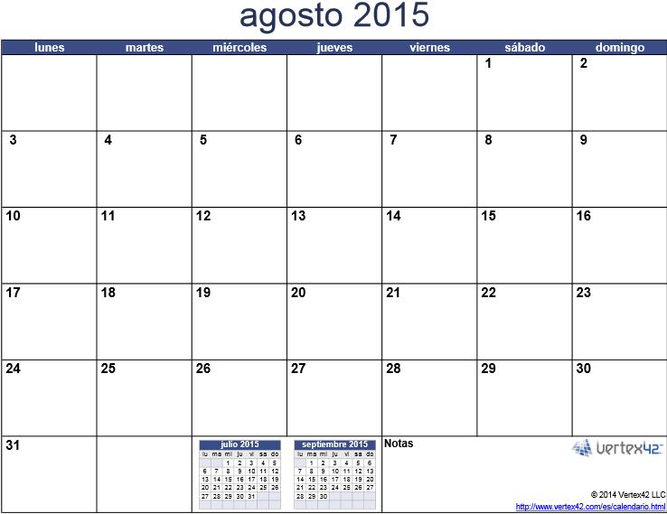 Calendario del 2015 mes por mes, para imprimir