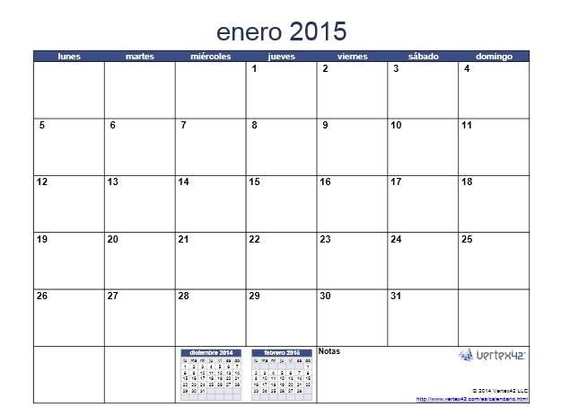 calendario enero 2015 para imprimir