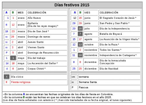 Feriados y dias festivos del 2015 para Colombia | Universo Guia