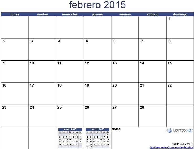 imprimir mes febrero 2015