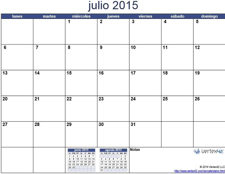 mes de julio 2015 para imprimir