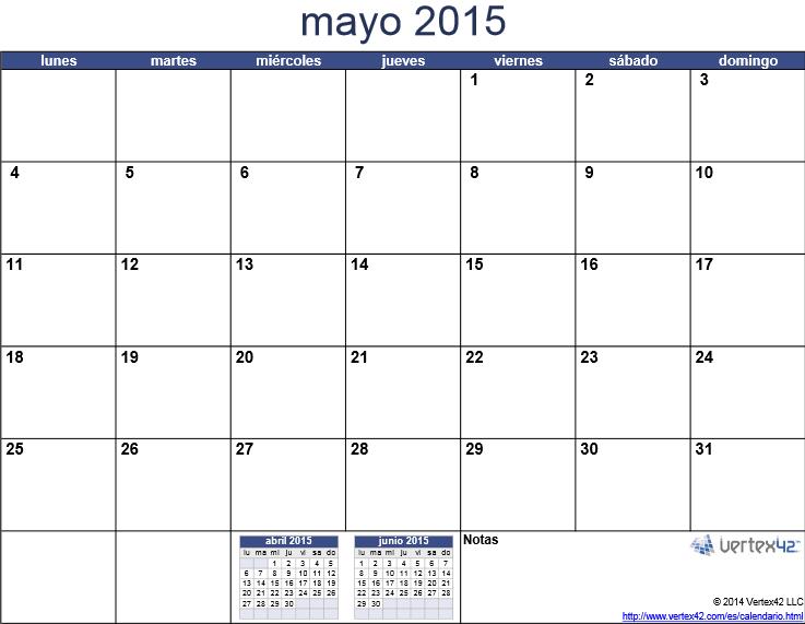 imprimir calendario de mayo 2015