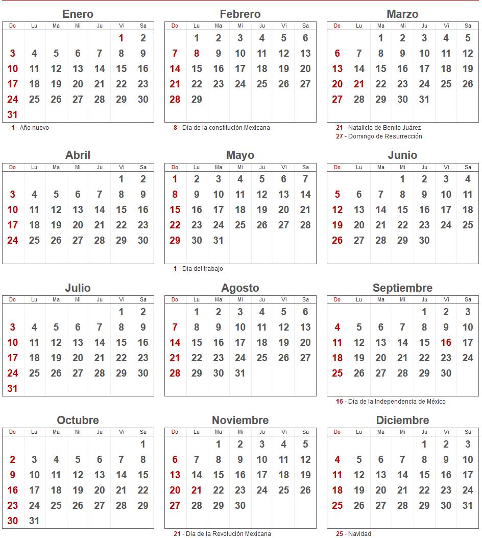 Calendario 2016 de México con los principales días festivos.