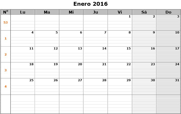 El calendario mes por mes 2016 puede ser descargado en formato PDF y ...
