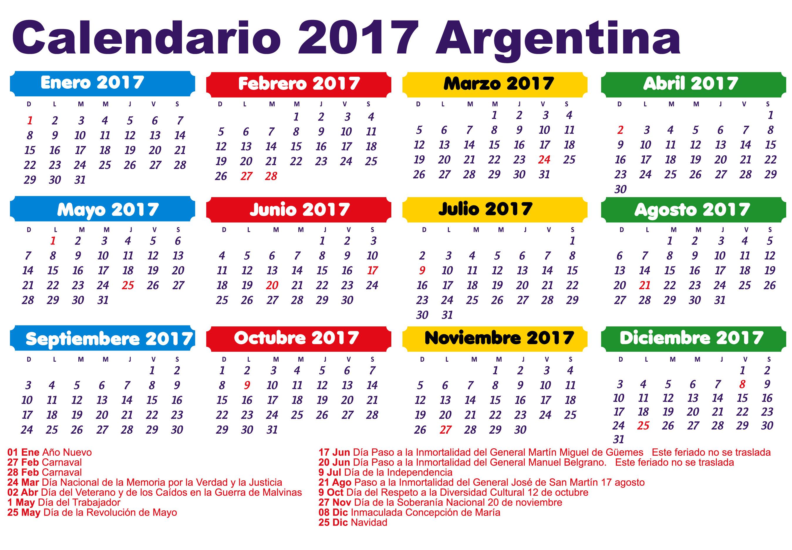 2017 Con Dias Feriados Y Festivos De Argentina Calendario Febrero ...