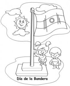 Día de la bandera, imágenes para colorear y recortar-3