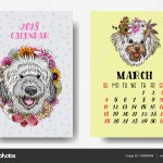 Calendar 2018 monthly. Cute dogs. 2018 Chinese new year with tex