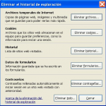 Eliminar historial de navegacion en internet explorer 7 y 8