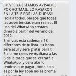 Mensaje de Whatsapp que deja de ser gratis